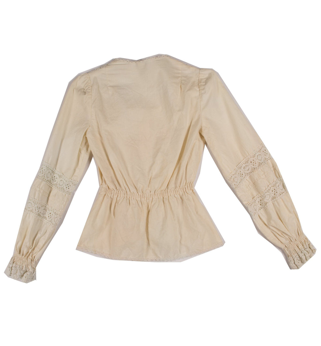 Womens Cream Victorian Long Sleeve Blouse - Vintage - Iron and Resin