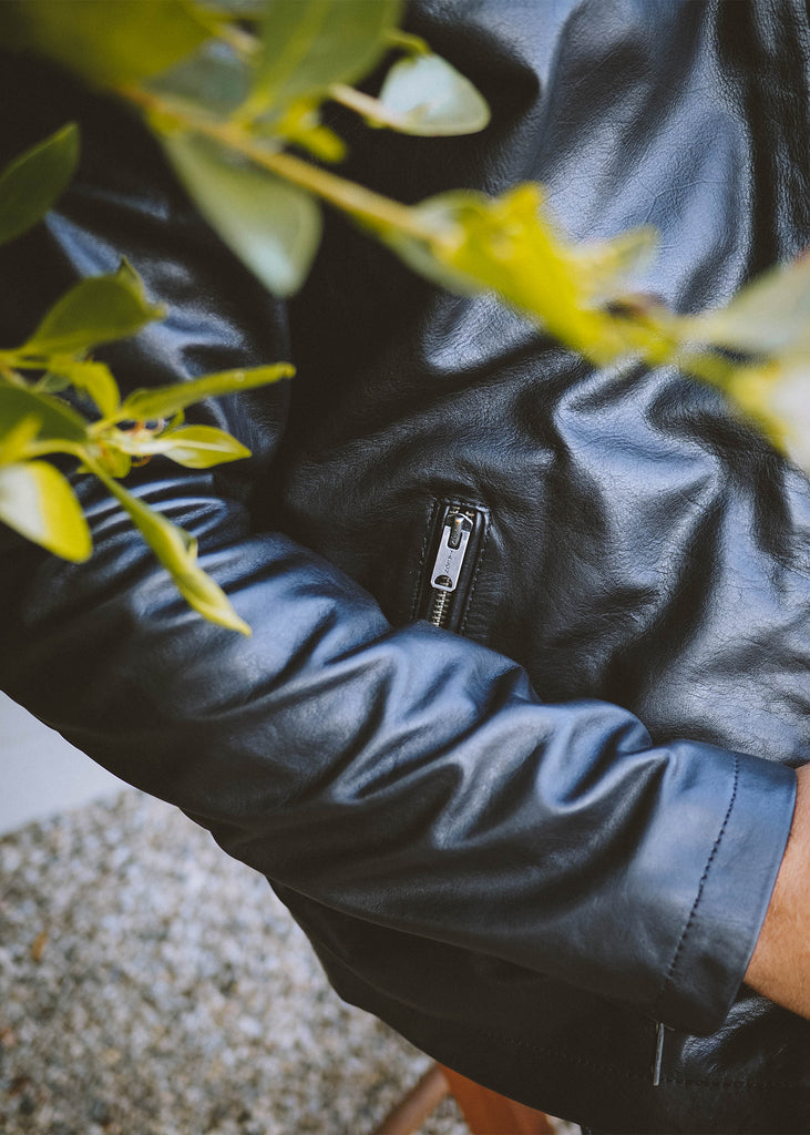 Iron & Resin Beaumont Black Leather Jacket with Talon Zippers
