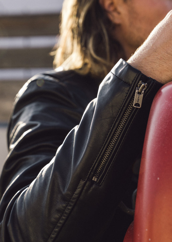 Iron & Resin Beaumont Black Leather Jacket with Zippered Cuffs