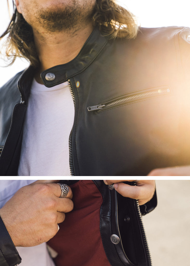 Iron & Resin Beaumont Black Leather Jacket with Talon Zippers and Upper Chest Pockets