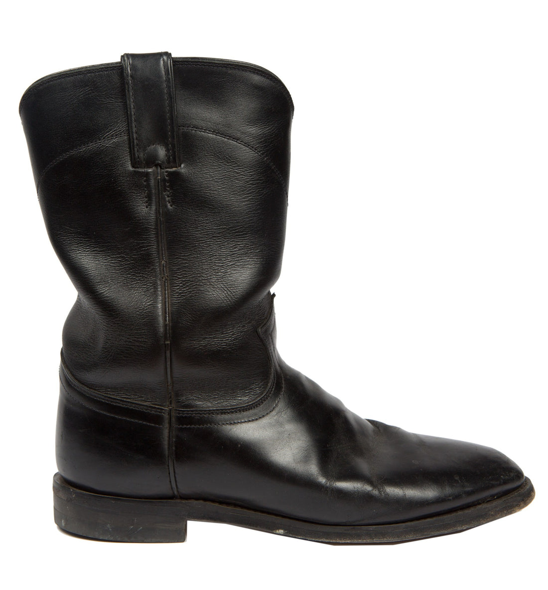 Vintage Black Leather Justin Boots, Mens Size 10 - Vintage: Men's: Shoes - Iron and Resin