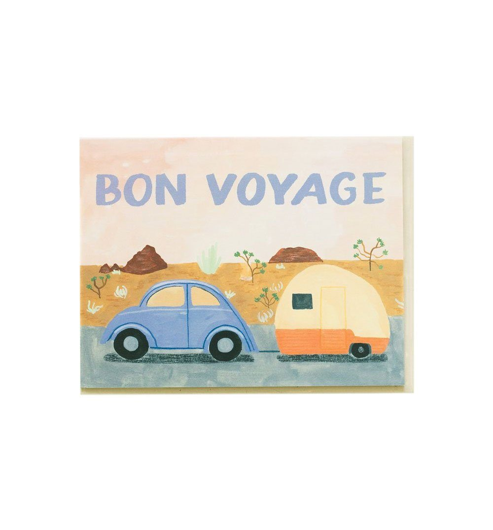 Small Adventure Bon Voyage Trailer Card - Art/Prints - Iron and Resin