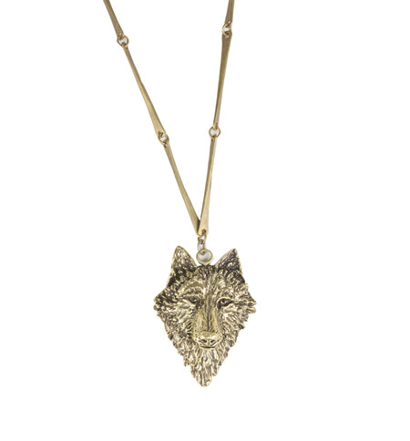 Brass Wolf Necklace - Jewelry - Iron and Resin
