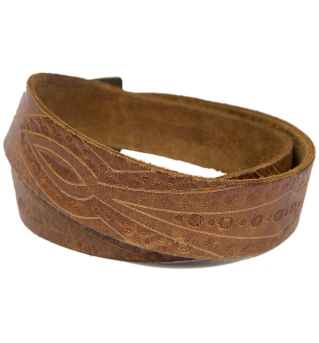 Vintage Leather Embossed Tooled Belt - Vintage: Women's - Iron and Resin