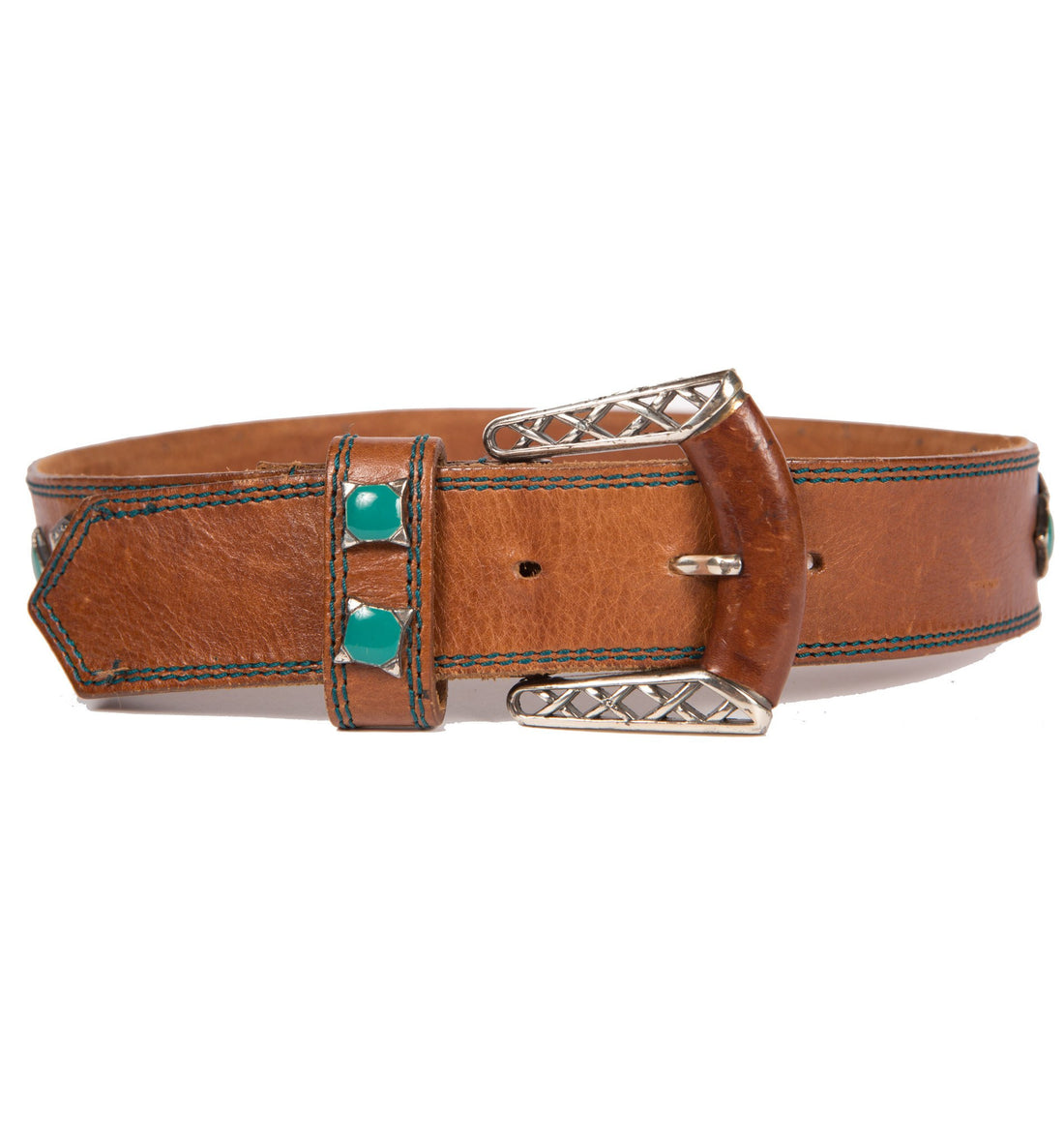 Vintage Brown Leather Belt - Vintage - Iron and Resin