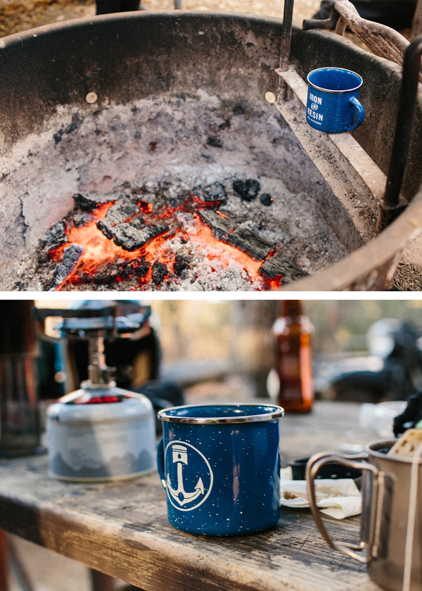 Iron & Resin Navy Camp Mug
