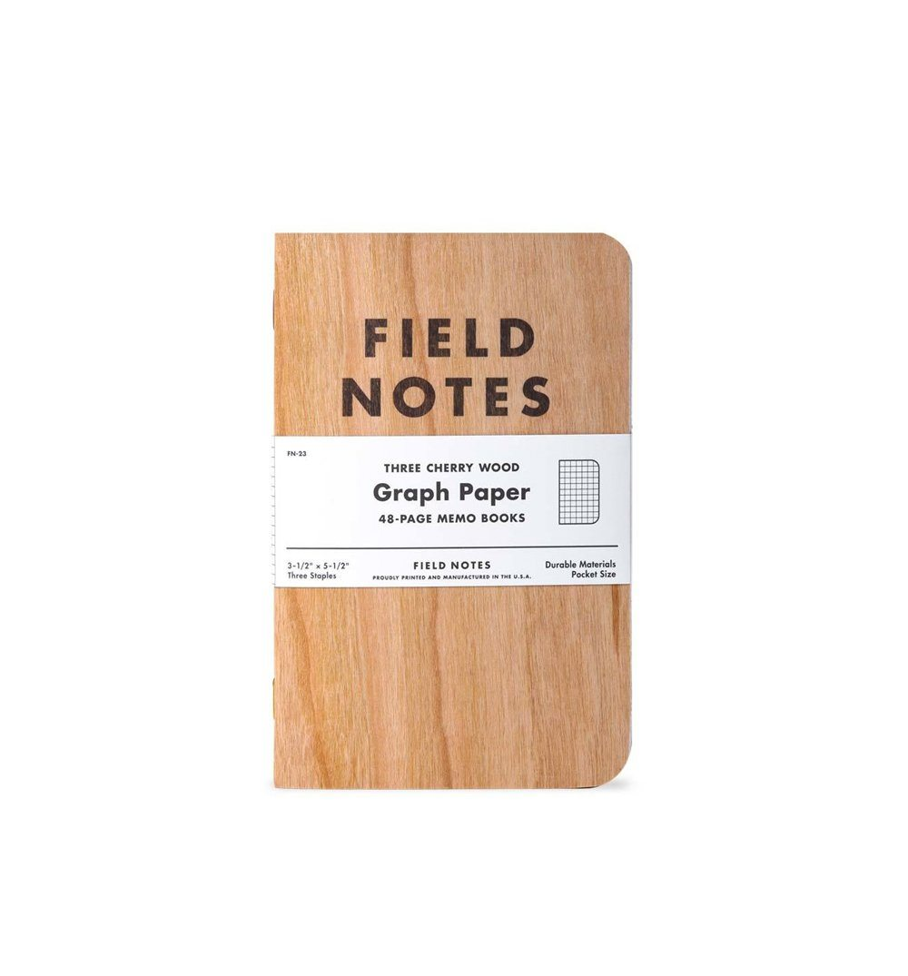 Field Notes CHERRY GRAPH 3-PACK - Cherry Wood - Graph Grid 3-Pack - Home Essentials - Iron and Resin