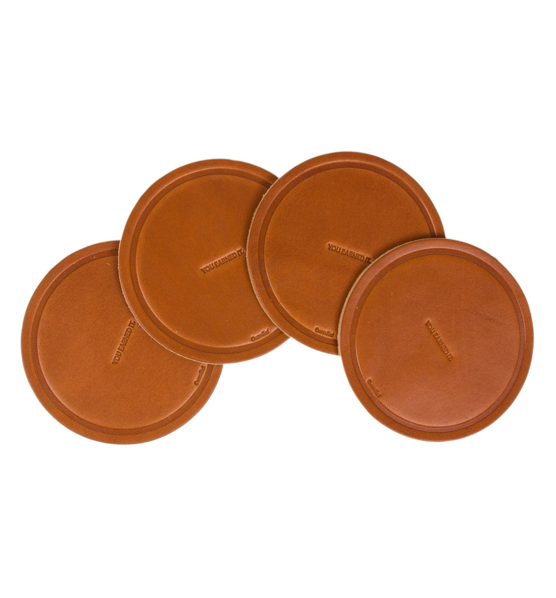Owen & Fred You Earned It Leather Coaster - Set of Four - Houseware - Iron and Resin