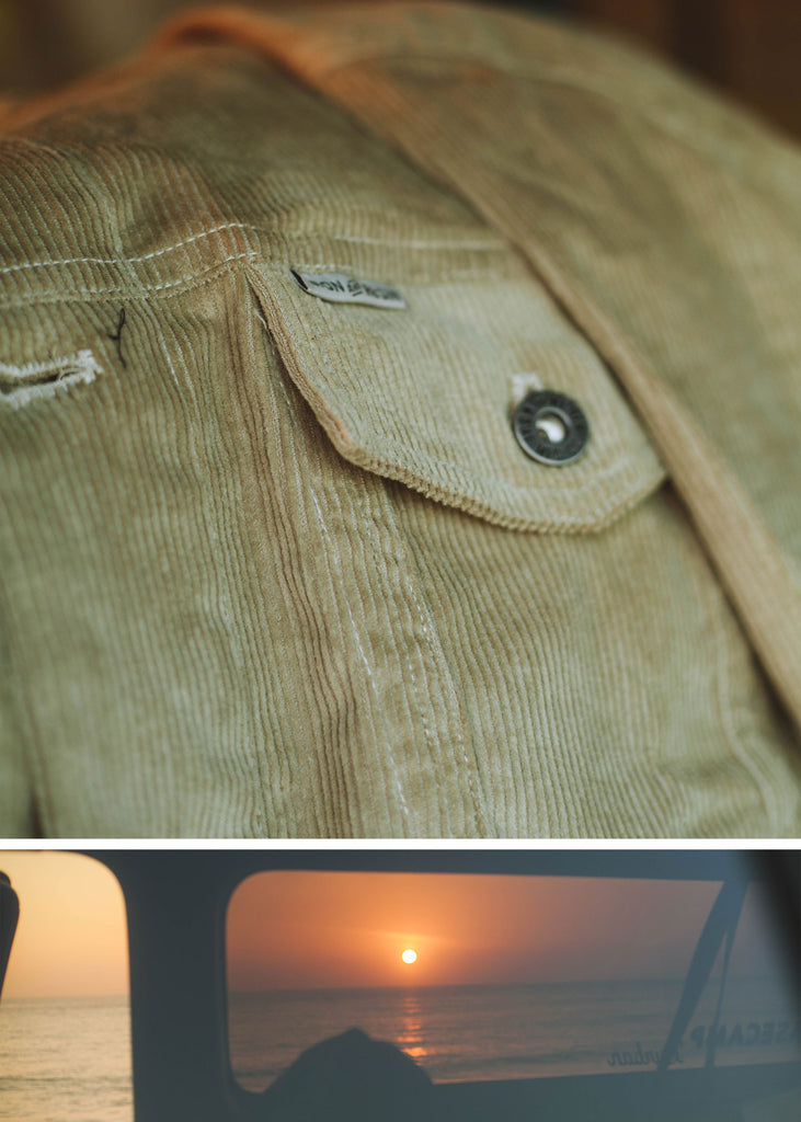 Iron & Resin Corduroy Rambler Jacket in Sand with Front Chest Pockets