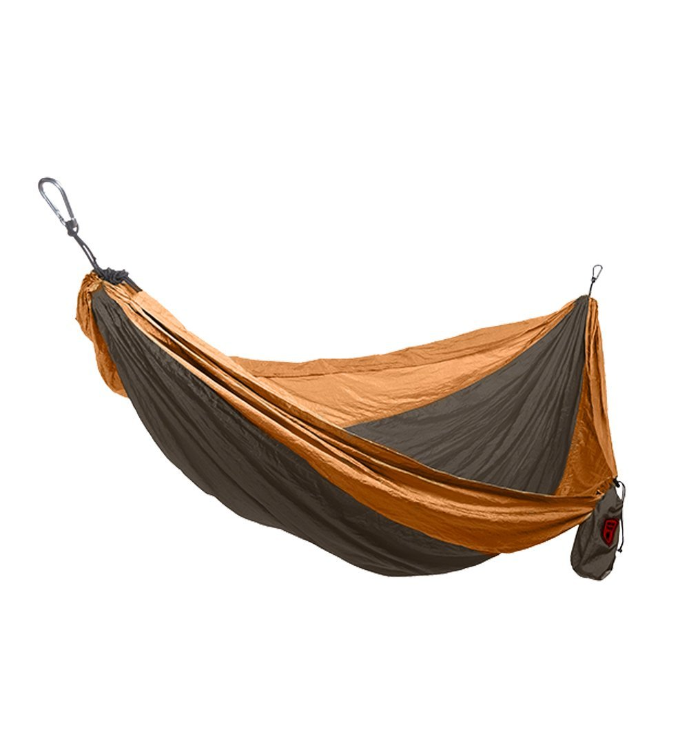 Grand Trunk Single Parachute Nylon Hammock - Brown/Mustard - Outdoor Living/Travel - Iron and Resin
