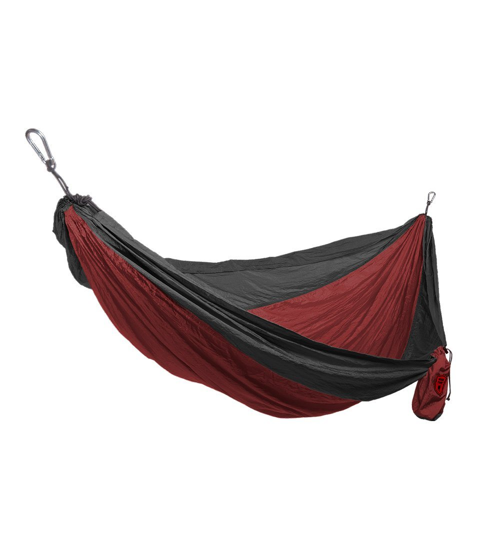Grand Trunk Double Parachute Nylon Hammock-Crimson/Charcoal - Outdoor Living/Travel - Iron and Resin