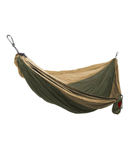 Grand Trunk- Double Parachute Nylon Hammock-Olive Green/Khaki - Outdoor Living/Travel - Iron and Resin