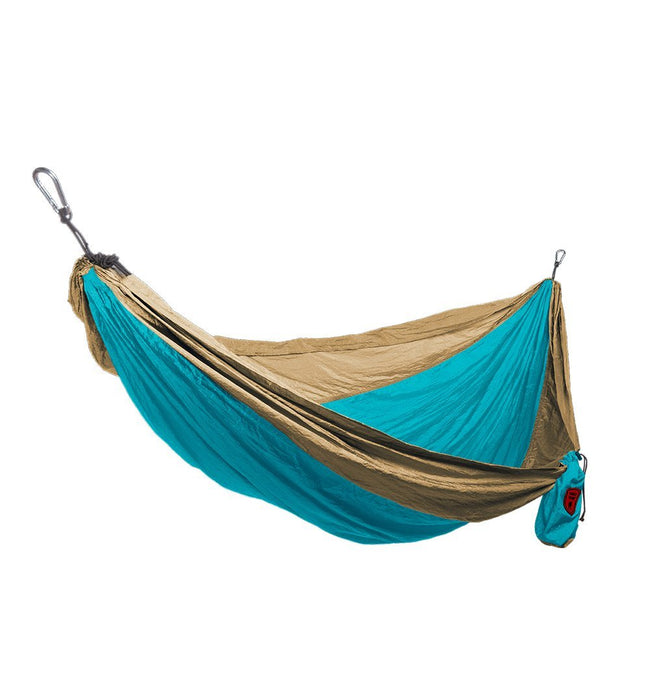 Grand Trunk- Double Parachute Nylon Hammock-Turquoise/Khaki - Outdoor Living/Travel - Iron and Resin