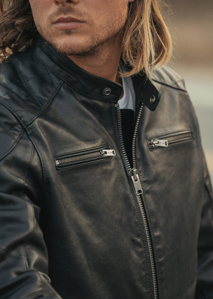 Iron & Resin Elsinore Leather Motorcycle Jacket with Front Zipper Closure