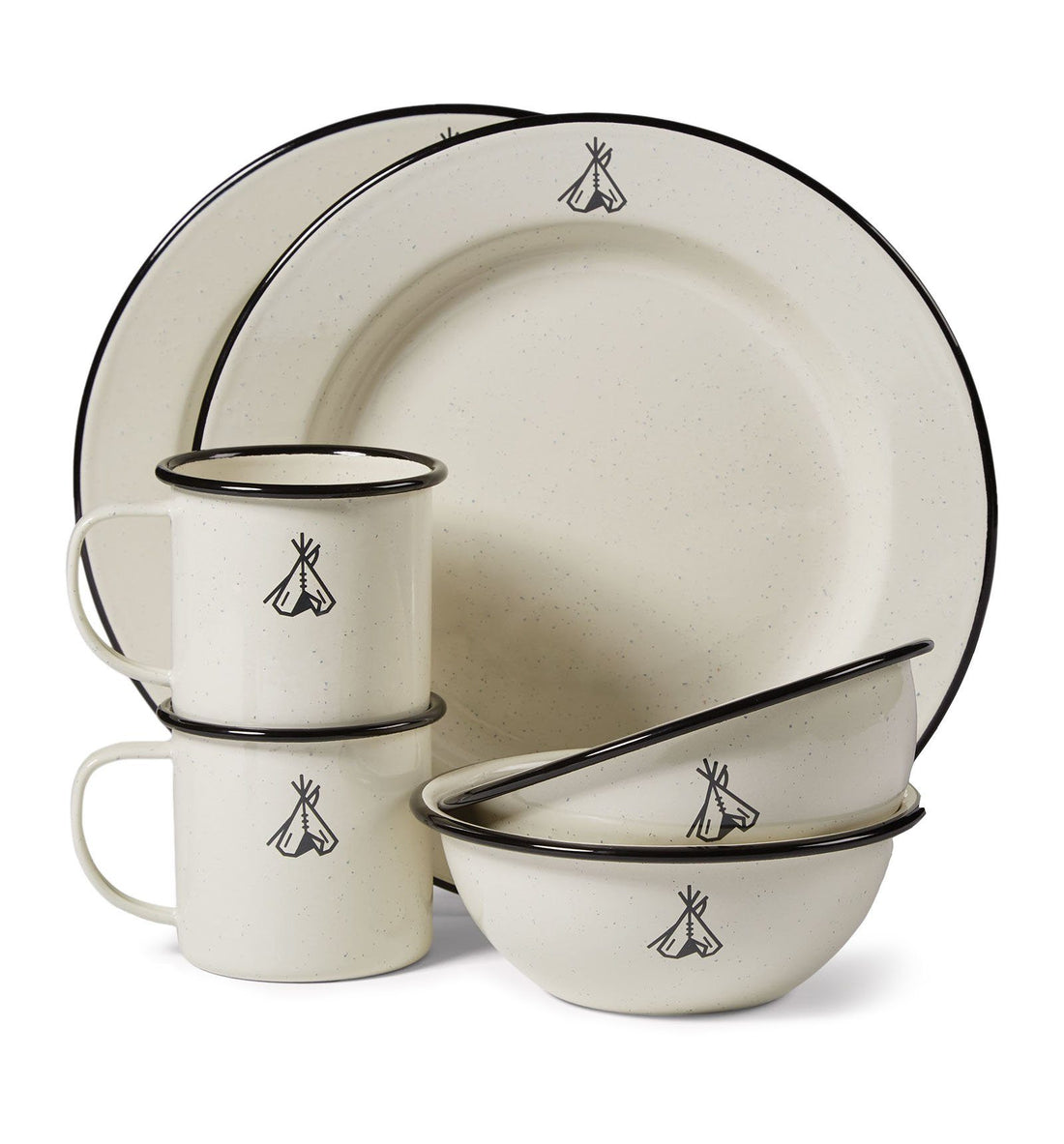 Pendleton Camp Enamelware Set - White - Outdoor Living/Travel - Iron and Resin