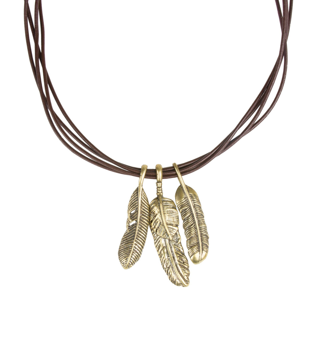 Feather on Brown Leather - Jewelry - Iron and Resin