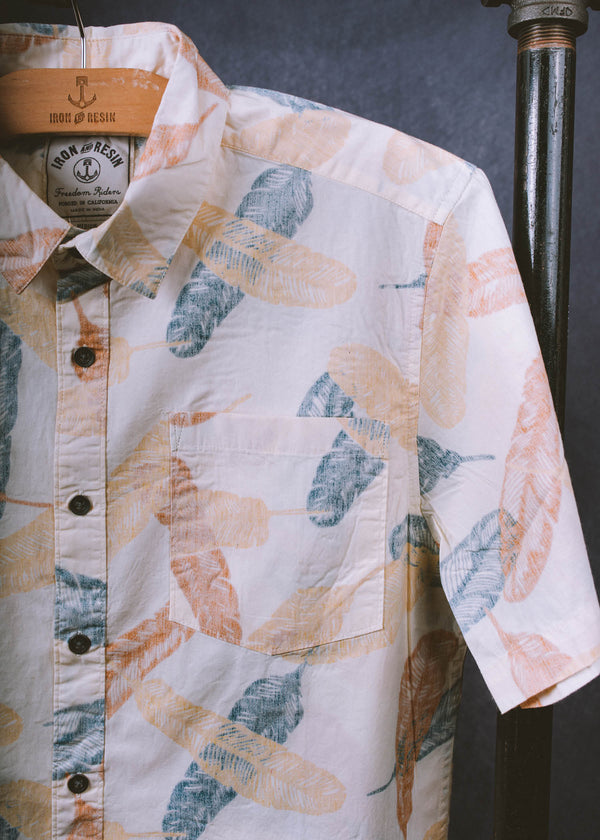 Iron & Resin Feathers Shirt Chest Pocket in Natural