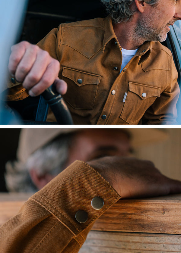 Iron & Resin Fenceline Shirt Jacket in Union Brown with a heavy 18oz duck cotton canvas