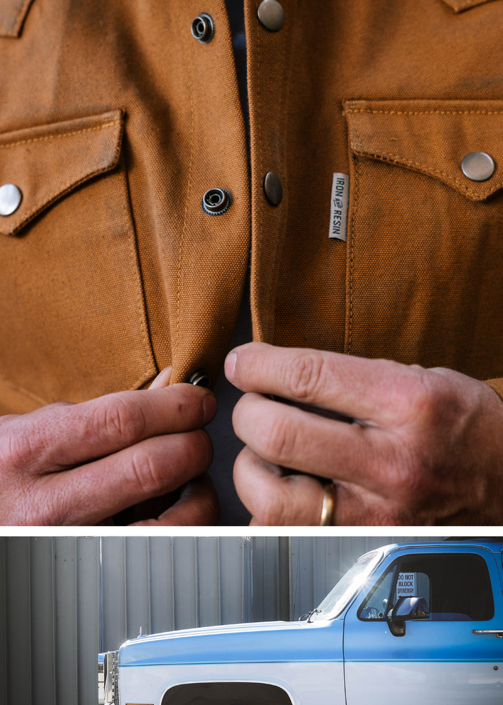 Iron & Resin Fenceline Shirt Jacket in Union Brown with Front Button Snap Closure