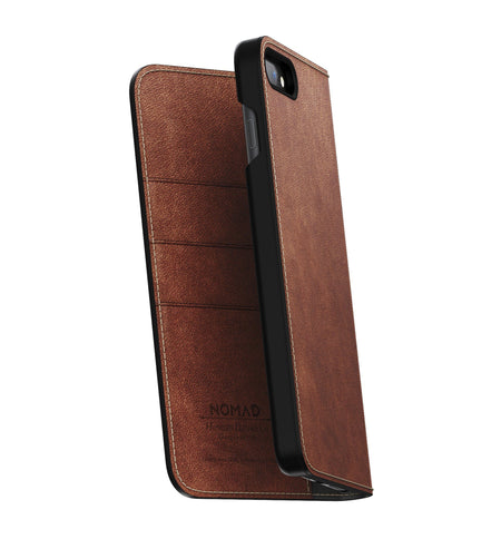 Nomad Traditional Folio Case - Rustic Brown - iPhone 8/7 Plus - Carry Essentials - Iron and Resin