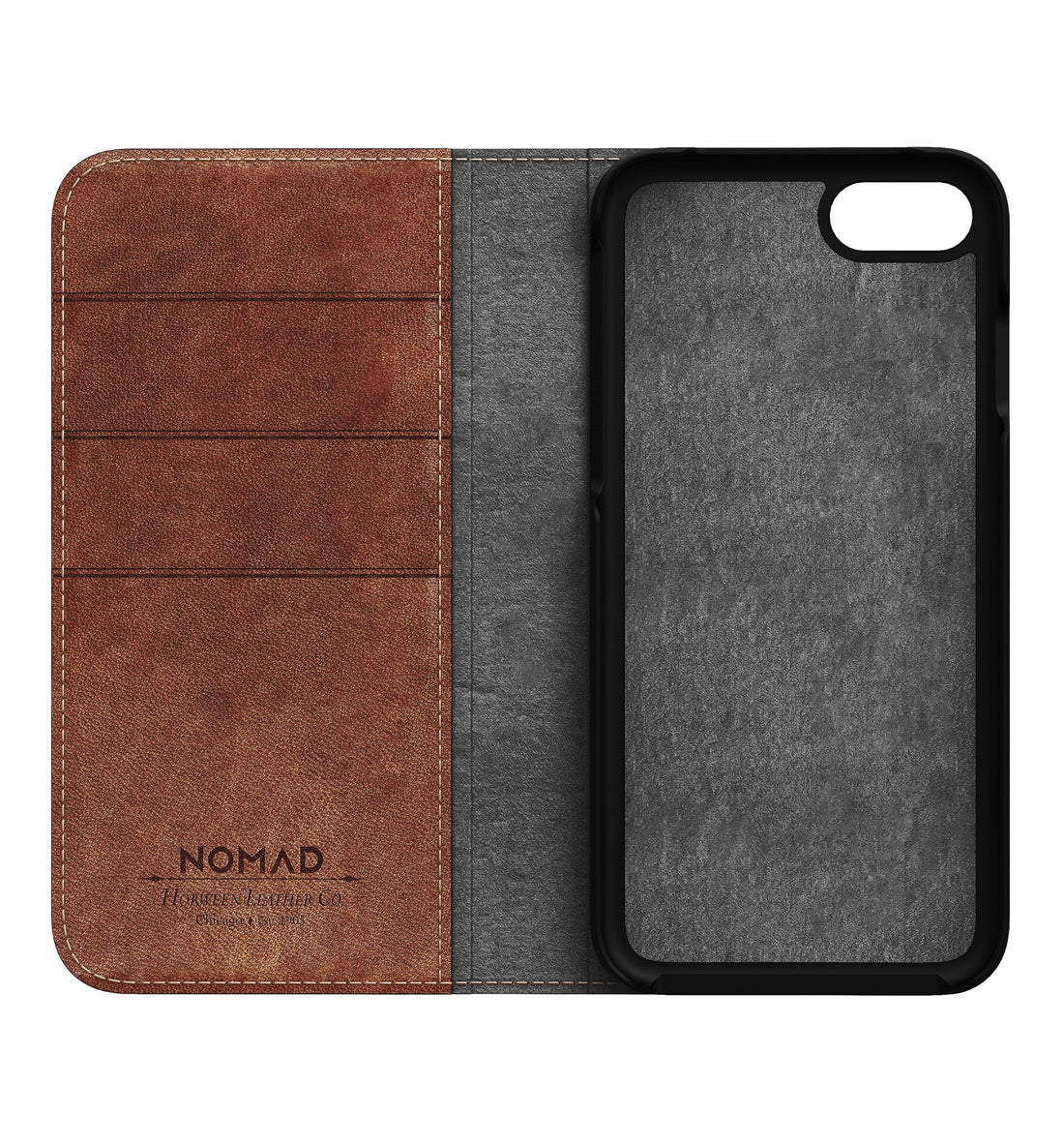 Nomad Traditional Folio Case - Rustic Brown - iPhone 8/7 - Carry Essentials - Iron and Resin