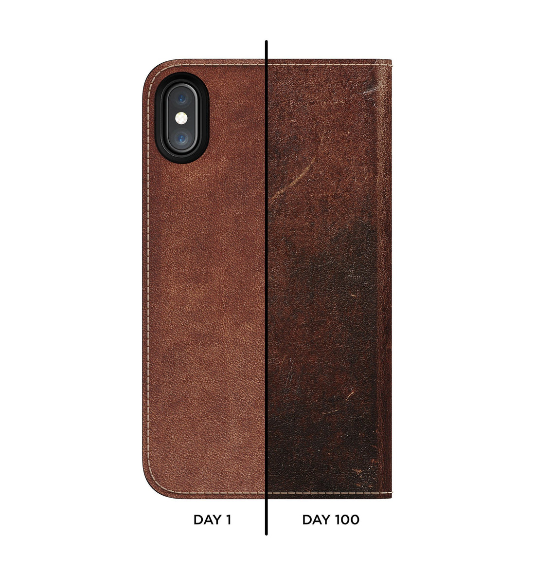 Nomad Traditional Folio Case - Rustic Brown - iPhone X - Carry Essentials - Iron and Resin