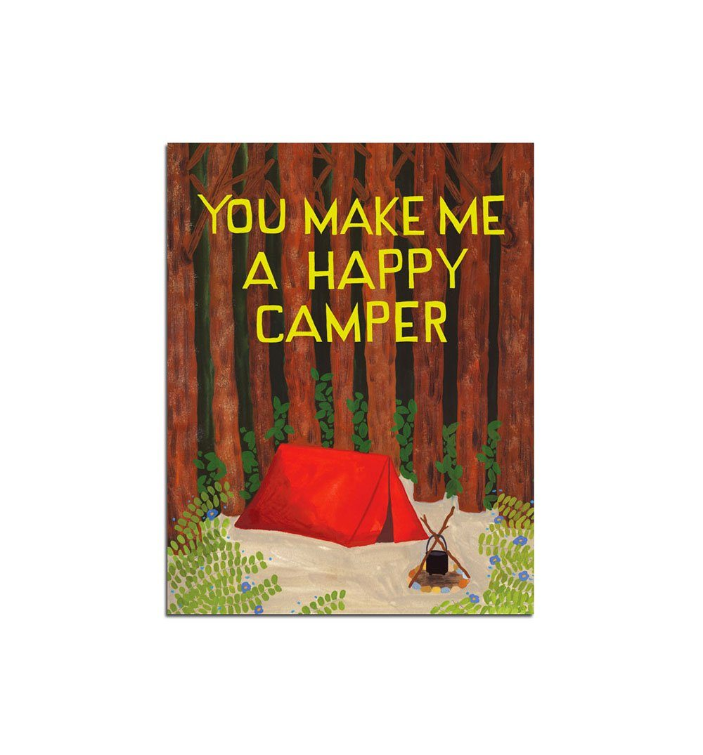 Small Adventure Happy Camper Card - Art/Prints - Iron and Resin