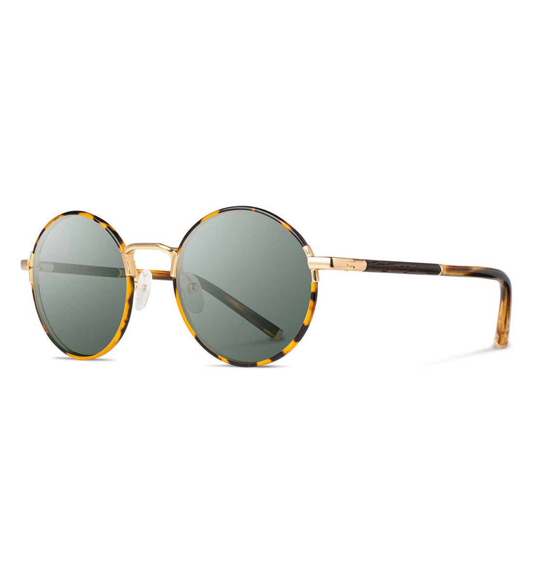 Shwood Hawthorne, Tortoise & Matte Gold // Ebony - G15 - Sunglasses - Iron and Resin