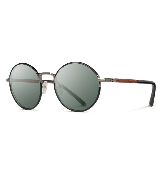 Shwood Hawthorne, Black Chrome // Mahogany - G15 - Accessories: Eyewear - Iron and Resin