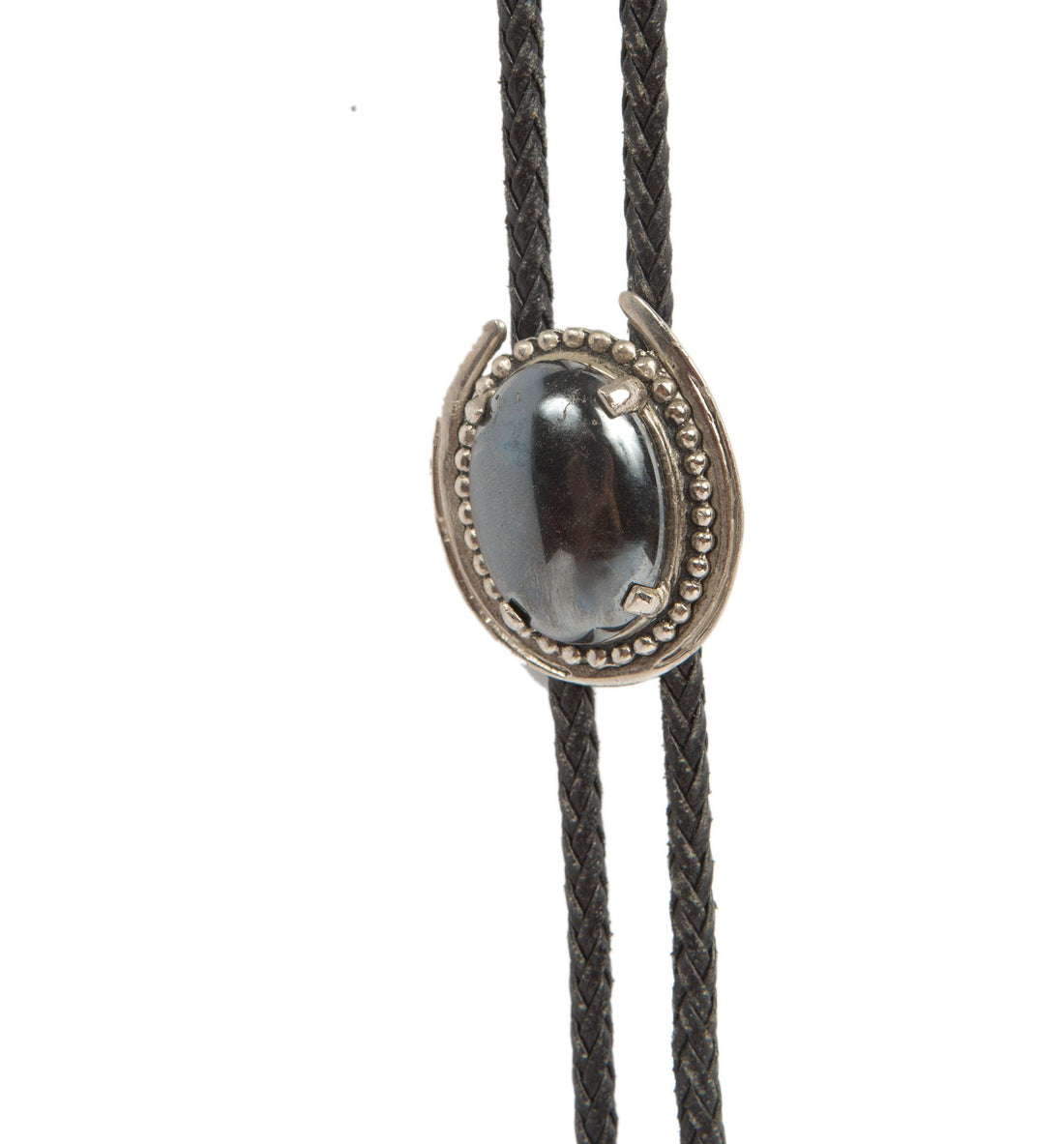 Vintage Horseshoe Black Marble Bolo Tie - Vintage: Women's - Iron and Resin