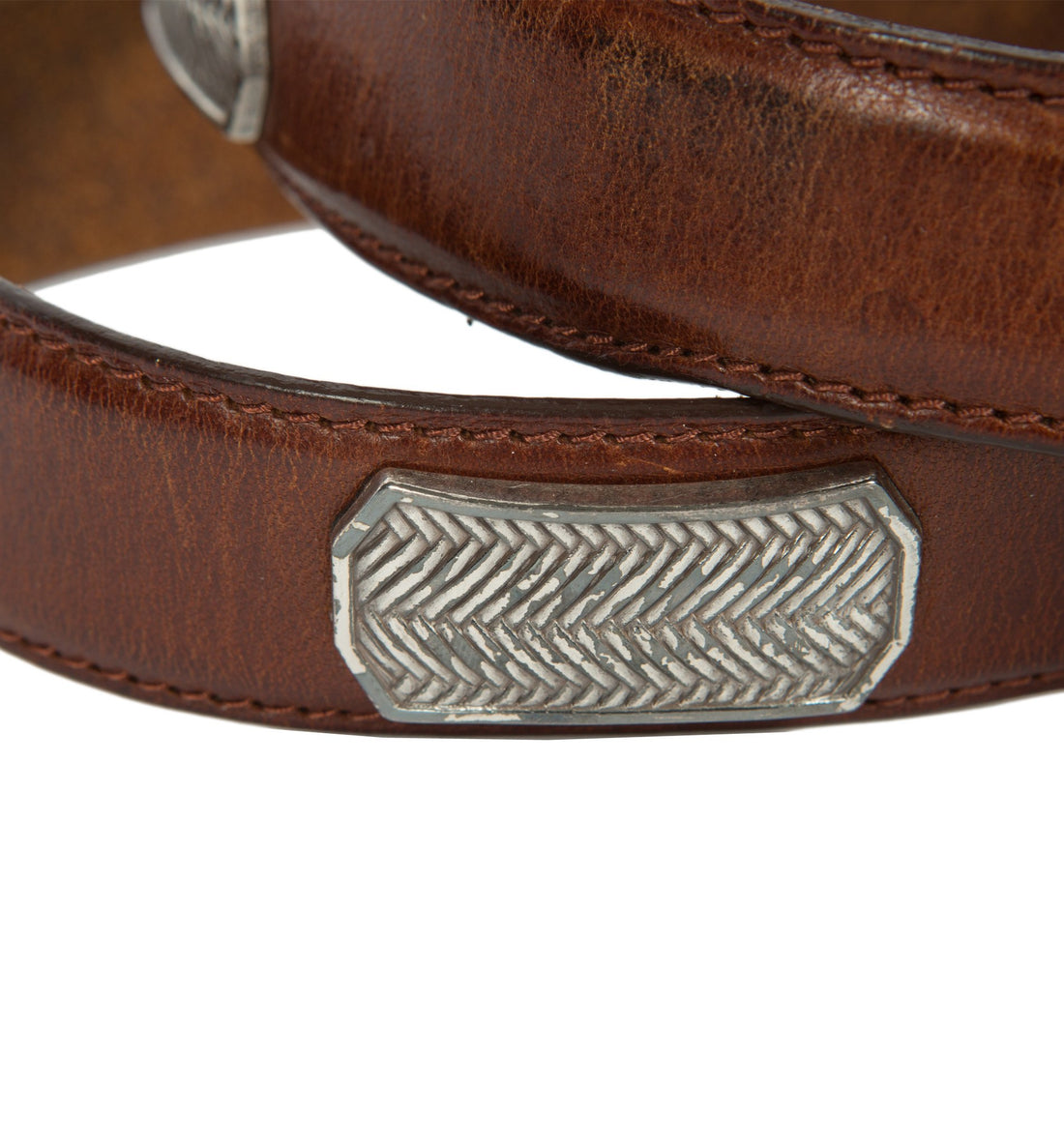 Vintage Brown Leather Metal Belt - Vintage - Iron and Resin
