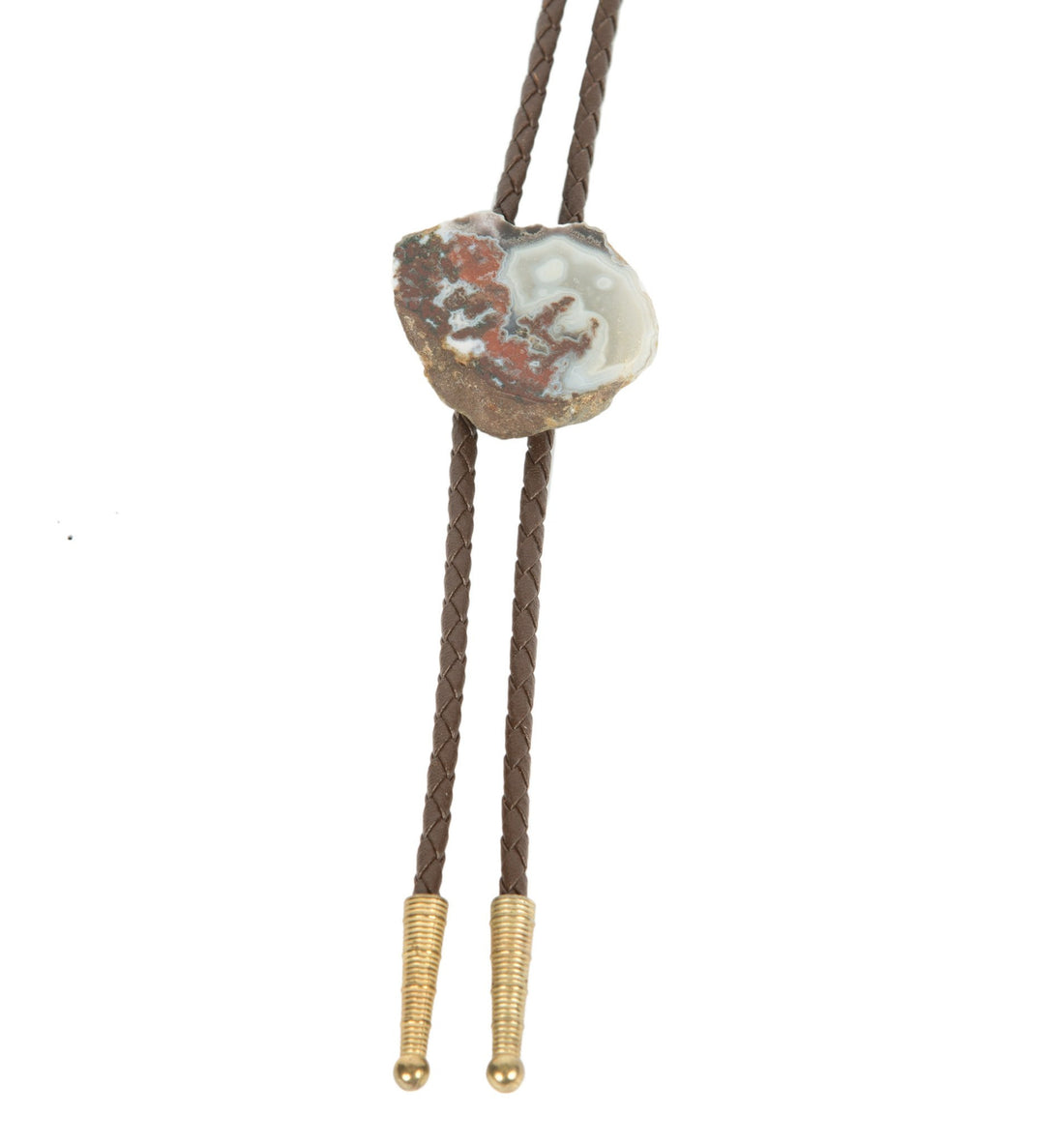 Vintage Leather and Stone Bolo Tie - Vintage - Iron and Resin