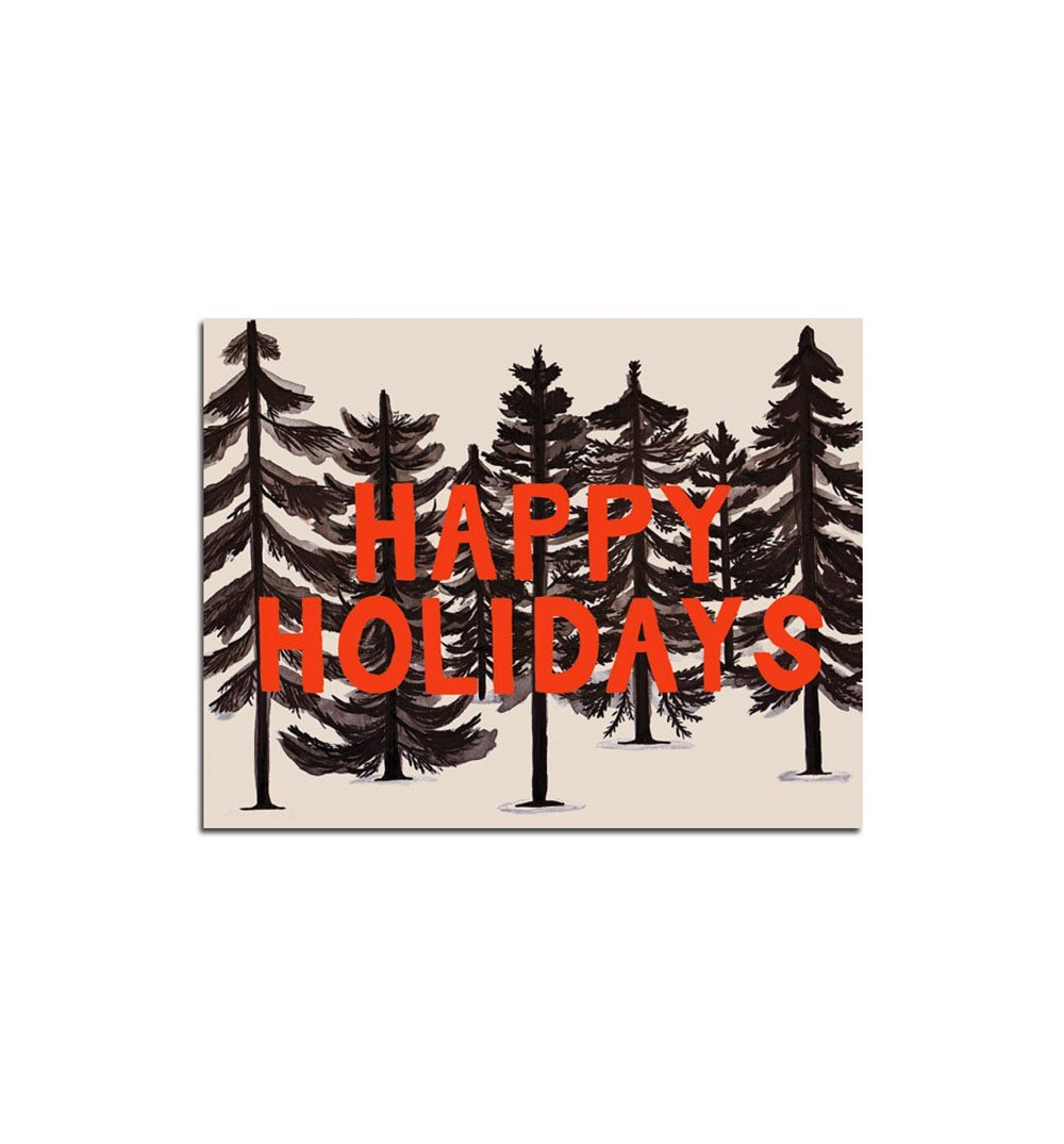 Small Adventure Inky Forest Happy Holidays Card - Art/Prints - Iron and Resin