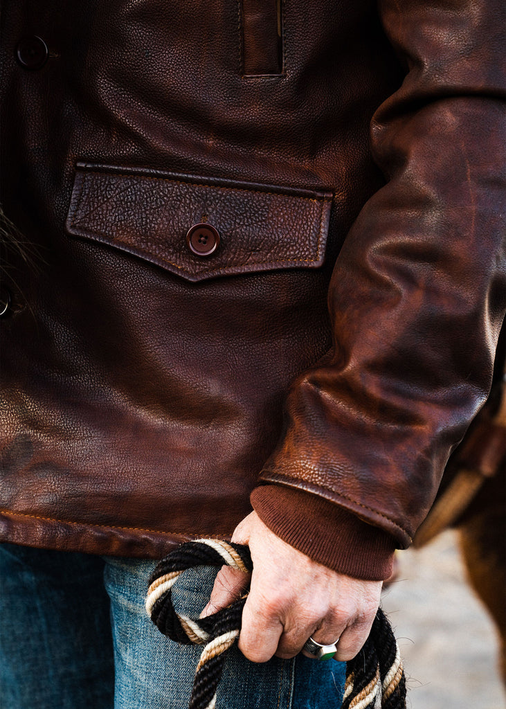 Iron & Resin Leather Lincoln Jacket in Saddle Brown