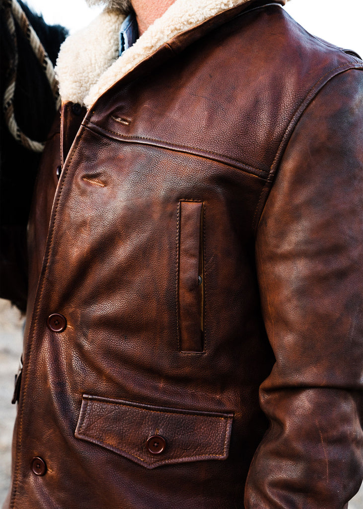 Iron & Resin Leather Lincoln Jacket in 1.1 - 1.2 mm hand dyed, top grain steer hide