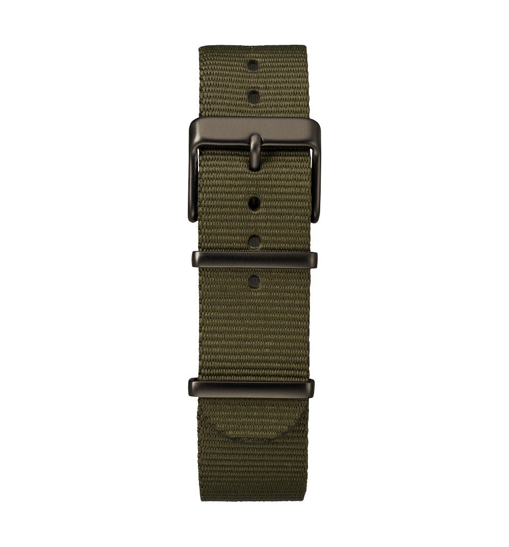 Timex MK1 Aluminum Chrono - Olive anodized case, silver dial, olive fabric strap - Watches - Iron and Resin
