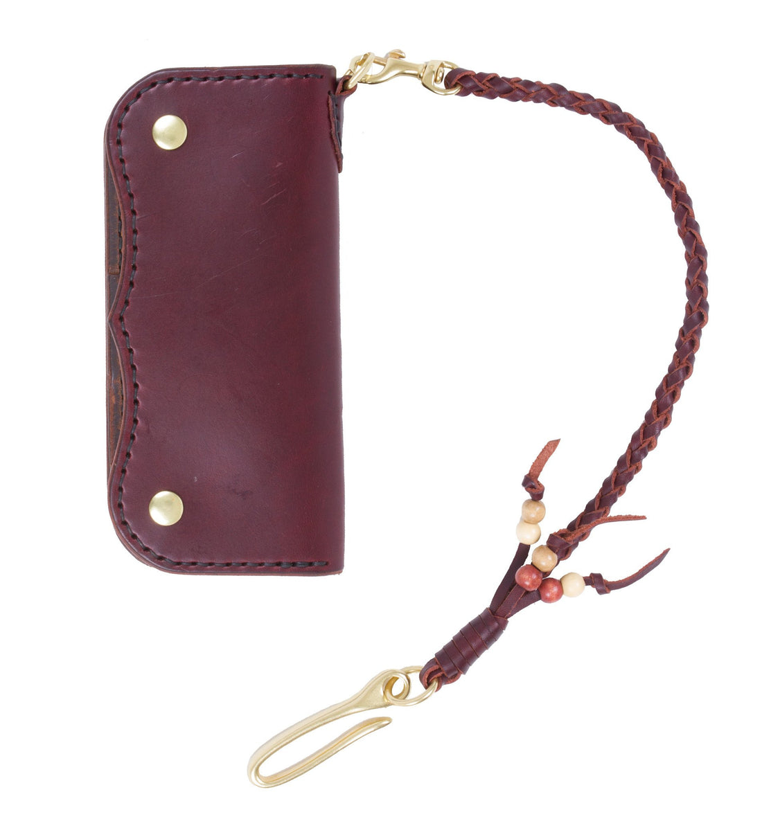Cult Classic Leather Magnum Wallet, Brown w/braid