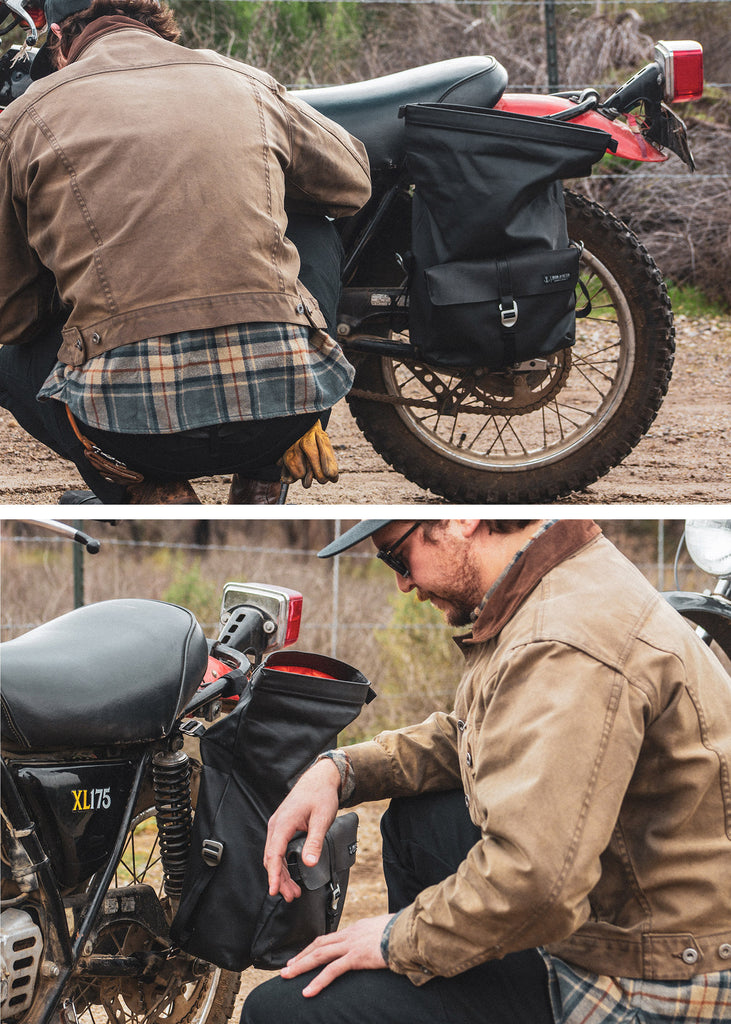 Iron & Resin Moto Pannier Bag in Black