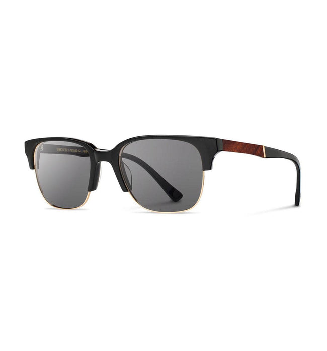 Shwood Newport 52mm, Black // Mahogany, Grey - Accessories: Eyewear - Iron and Resin