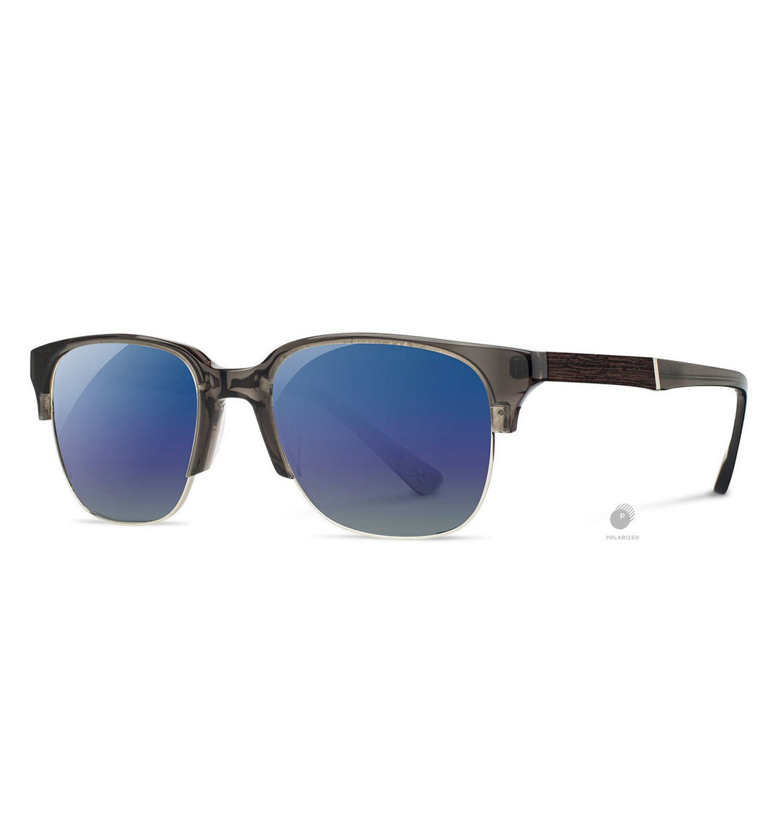Shwood Newport 52mm, Charcoal // Elm Burl - Blue Flash Polarized - Sunglasses - Iron and Resin