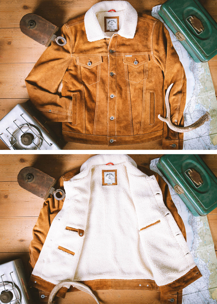 Iron & Resin Open Road Jacket in Cow Split Leather Product Layflat Details