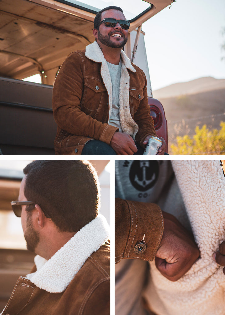 Iron and Resin Open Road Jacket - Cognac Cow Split Leather with Sherpa Fleece