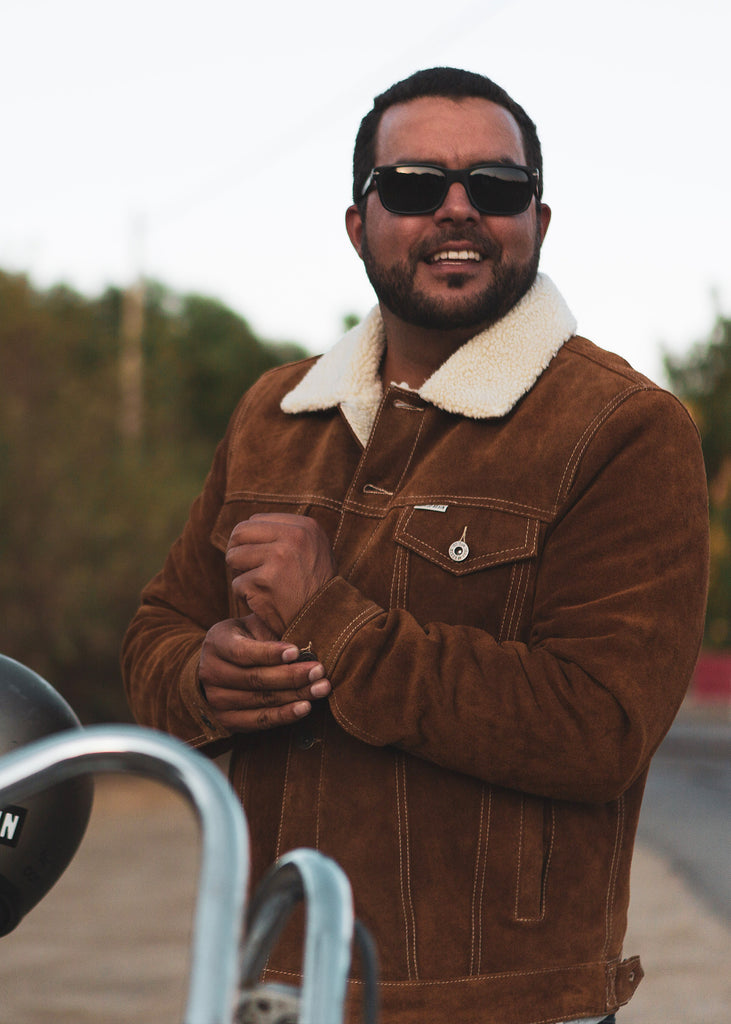 Iron and Resin Open Road Jacket - Cognac Cow Split Leather Lifestyle Fit Image