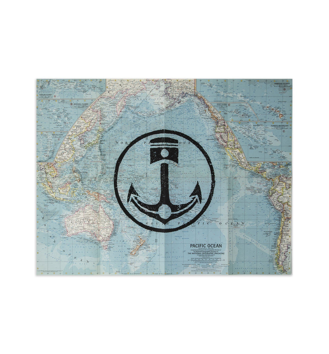 "Iron & Resin Vintage Map Poster - Pacific Ocean - 19"" x 25"" - Art/Prints - Iron and Resin"