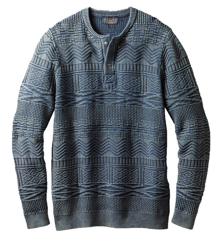 Pendleton Woolen Mills Jacquard Henley Sweater - Tops - Iron and Resin