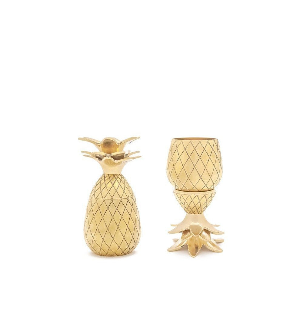 Pineapple Shot Glass Set, Gold - Kitchenware - Iron and Resin