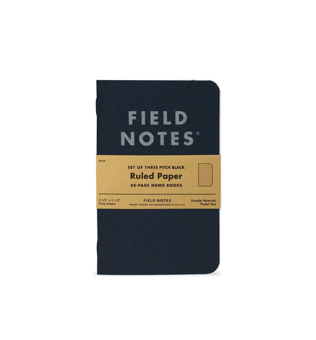 Field Notes PITCH BLACK MEMO BOOK - Pitch Black - Ruled 3-Pack - Home Essentials - Iron and Resin