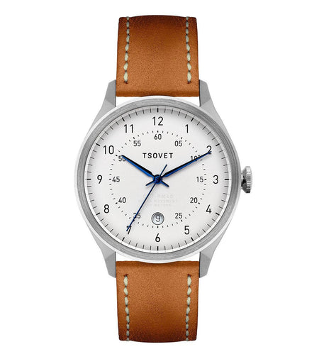 Tsovet RM40, Stainless/Tan/White - Watches - Iron and Resin