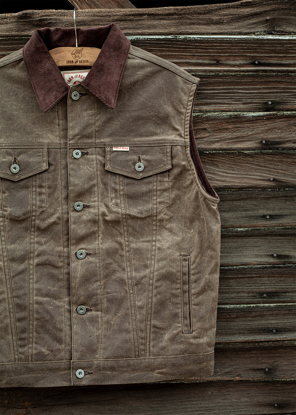 Iron & Resin Rambler Vest in Oak Brown with Corduroy Collar