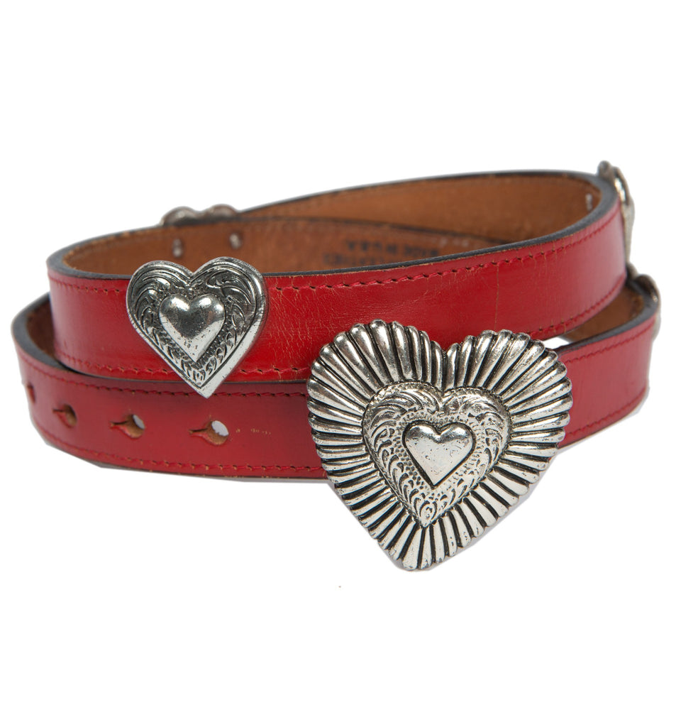 Vintage Red Leather Belt w/Heart Adornments